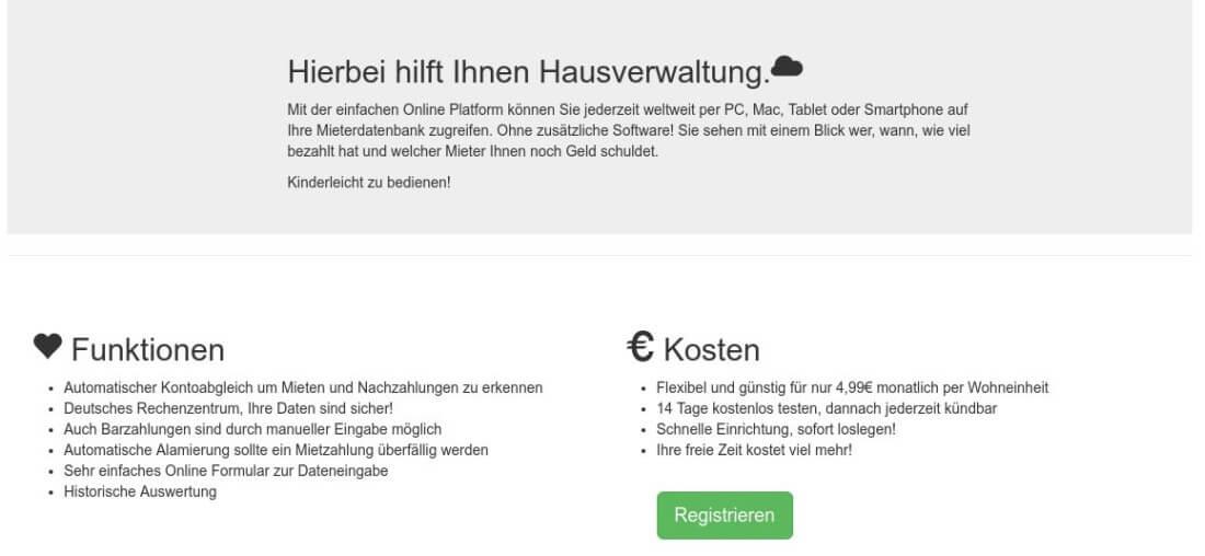 Screenshot der Funktionen bei Hausverwaltung.Cloud