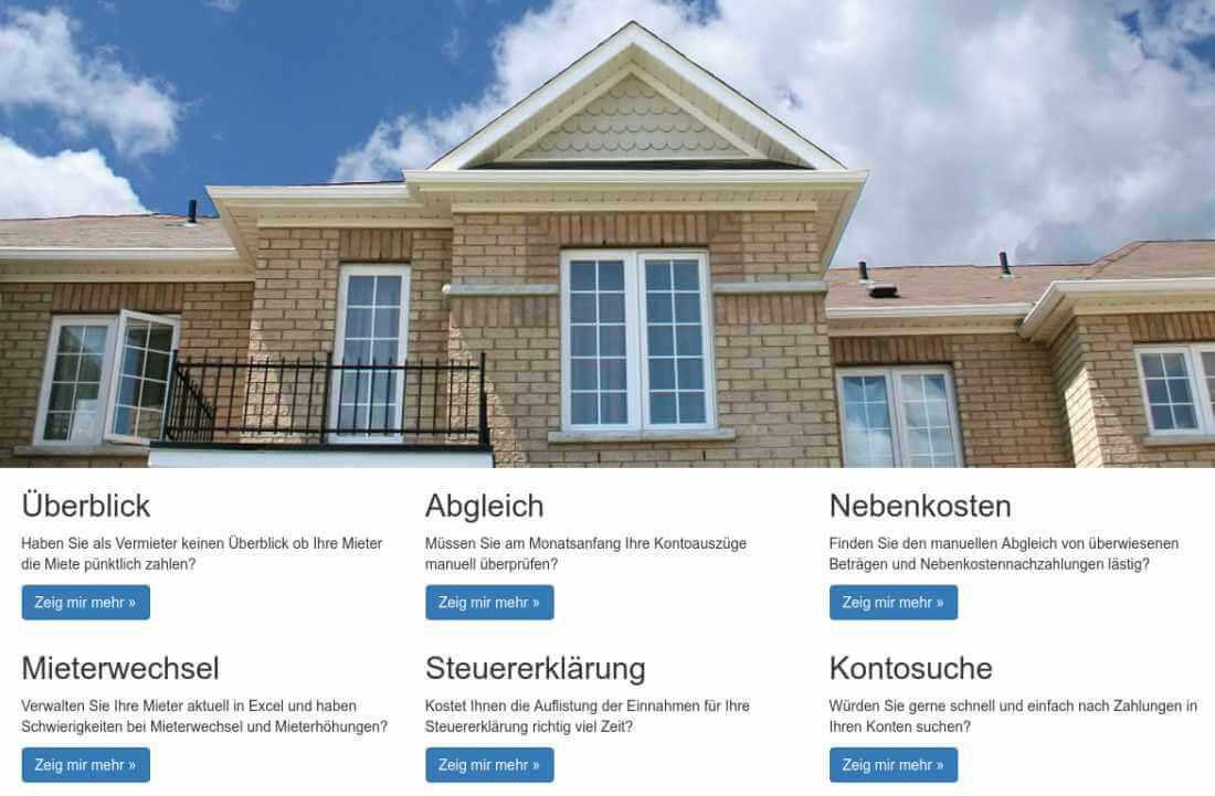 Screenshot der Startseite von Hausverwaltung.Cloud