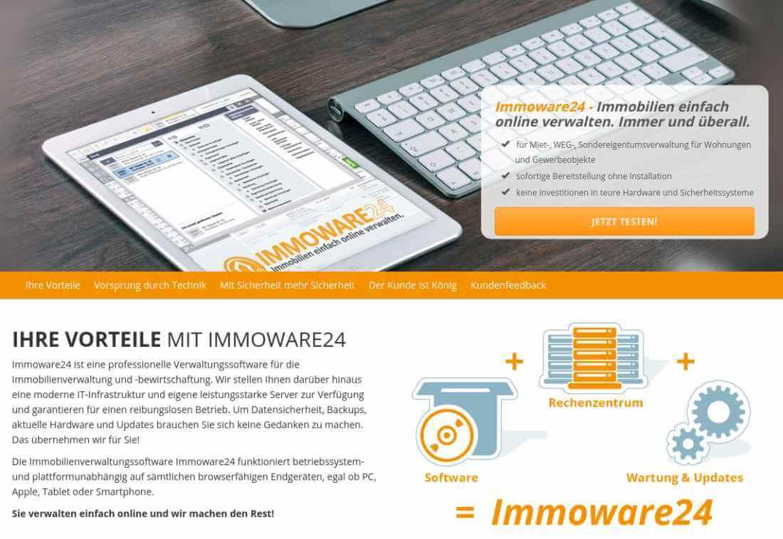Screenshot der Startseite von Immoware24