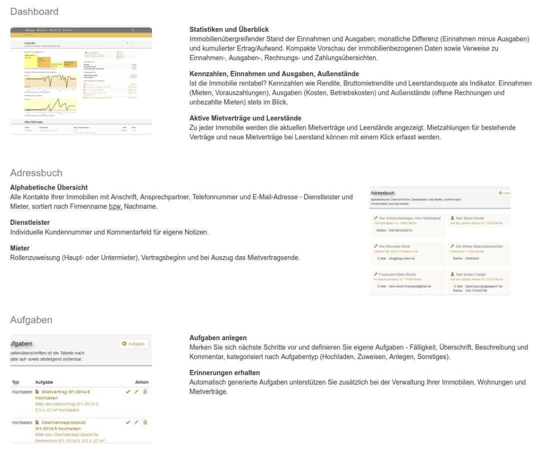 Screenshot der Funktionsbeschreibung von myVerwalto